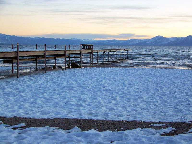 Tahoe - Franciscan Lodge has its own little beach and jetty