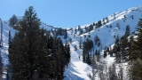Looking back up the cat skiing valley