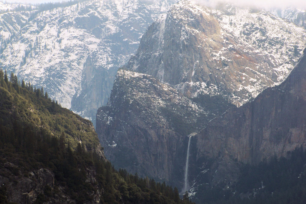 Yosemite - Bridalveil Falls seen exiting toward Crane Flat